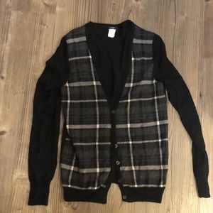 J Crew M Merino Wool plaid button down sweater